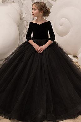 eDressit Longue Robe de Fillette Noire en Tulle Broderie (27195300A)