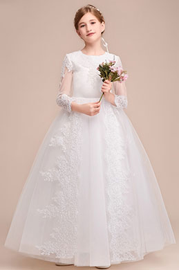 eDressit Romantic Long Sleeves  Wedding Flower Girl Party Dress (27193607)