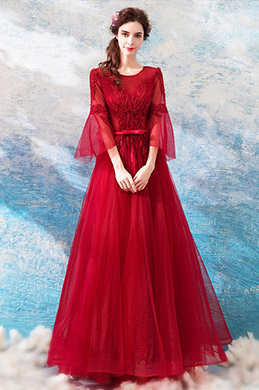 eDressit Red Round NeckLine Mid Sleeves Party Ball Gown (36205202)