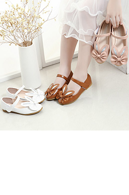 Girl's Closed Toe Leather Flat Buckle Flower Shoes (250054)