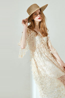 eDressit Embroidery 3/4 Sleeves Day Dress Summer Dress (30194807)