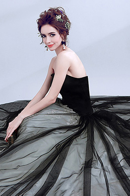 eDressit Black&Grey Strapless Fitted V-Cut Bodice Prom Gown (36190400)