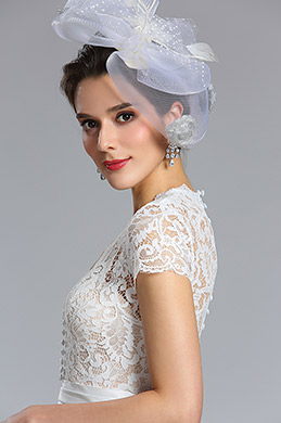 eDressit white Cap Sleeves Wedding Cocktail Dress (04181007)