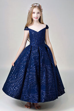 eDressit Navy Blue Cap Sleeves Flower Girl Dress (27205005)