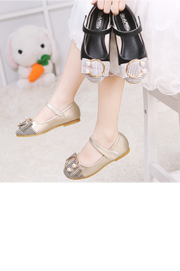 Lovely Closed Toe Flat Buckle Flower Girl's Shoes (250045)