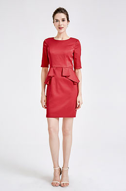eDressit Red Half Sleeves Party Mother of the Bride Dress (26191002)