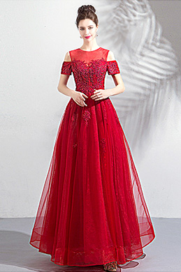 eDressit Red Unique Neck OFF Shoulder Tulle Party Dress (36203802)