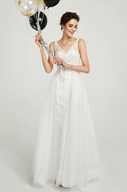 eDressit White V-Neck Long Tulle  Women Wedding Dress (01190107)