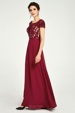 eDressit Burgundy Embroidery Cap Mother of the Bride Party Dress (26191317)