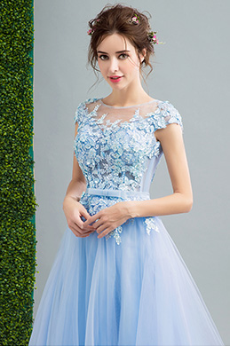 eDressit Blue Cap Sleeves Lace applique Prom Party Dress (36206832)