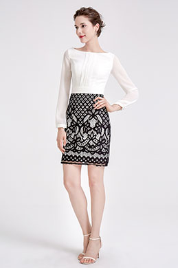 eDressit White & Black Chiffon Lace Blouse Suit Dress (03190207)