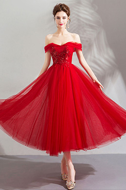 eDressit Red Sexy Off Shoulder Tulle Party Evening Dress (35192902)