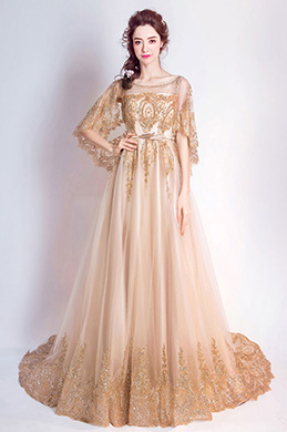 eDressit Noble Gold Cape Top Long Train Party Prom Dress (36196924)