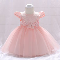 eDressit Pink Cap Sleeves Lace Applique Baby Dress (2319031)