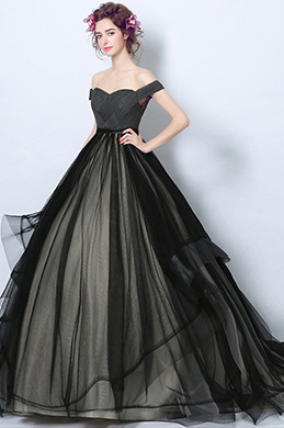 eDressit Sexy Black Pleated Bodice Tulle Party Ball Dress (36207000)