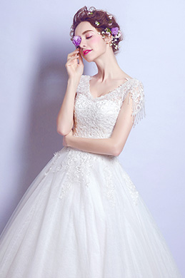 eDressit Sexy V-Cut Lace Appliques formal Wedding Bridal Dress (36210407)