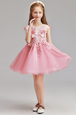 eDressit Lovely Pink Short Sleeves Flower Girl Dress (28195501)