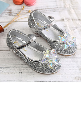 Girl's Lovely Sequin Round Toe Leather Flower Girl Shoes (250036)