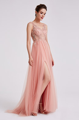 eDressit V Cut Beaded Tulle Evening Party Dresses(36180546)