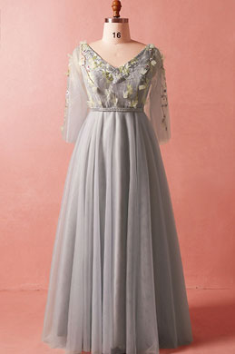 eDressit Grey V-Cut Lace Appliques Plus Size Dress Prom Dress (31192008)
