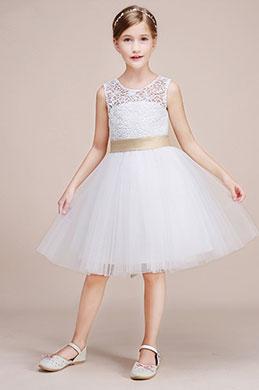eDressit Satin Waistband Lace Sleeveless Flower Girl Dress (28193207)