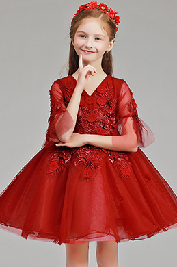 eDressit Lovely Red Floral Princess Flower Girl Stage Dress (28194102)