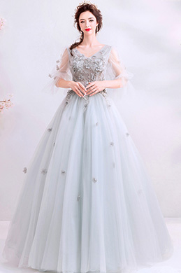 eDressit Grey Fairy Sleeves Long Tulle Party Evening Dress (36198208)