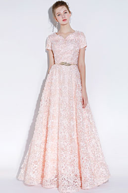eDressit Light Pink Short Sleeves Long Party Evening Ball Dress (36218101)