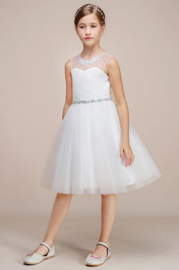 eDressit White Tulle Wedding Flower Girl Party Dress (28191907)