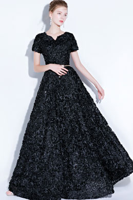 eDressit Black Short Sleeves Long Party Evening Ball Dress (36218100)