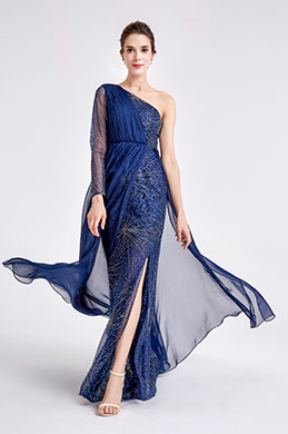 eDressit New Blue one Sleeve Sparkle Prom Evening Dress (00190805)