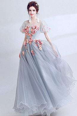 eDressit Grey Floral Sleeves Pary Prom Evening Ball Dress (36197205)
