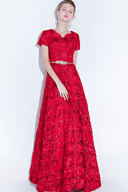eDressit Short Sleeves Floral Long Party Evening Ball Dress (36218117)