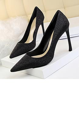 Women's Glitter Matte High Heel Closed Toe Pumps Shoes (0919013)
