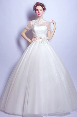 eDressit Elegant High Neck Beads Lace Bridal Wedding Dress (36210307)