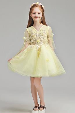 eDressit Handmande Yellow Children Wedding Flower Girl Dress (28195703)