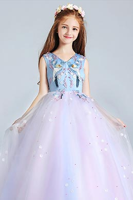 eDressit Long Blue Lovely Princess Party Stage Flowergirl Dress (27190505)
