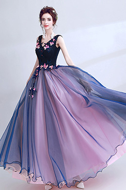 eDressit Blue Sexy V-Cut Flower Elegant Party Ball Dress (36193405)