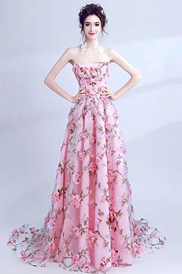 eDressit Robe de Bal Floral Longue Sans Bretelles  (36196468)