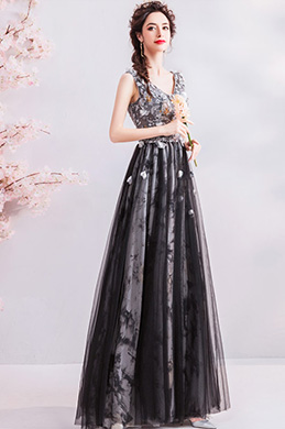 eDressit Black Floral V-Cut Tulle Formal Party Evening Dress (36211300)