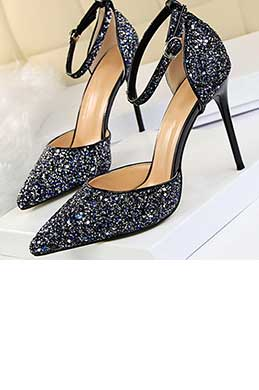 Women's Sequins Buckle High Heel Closed Toe Pumps Shoes (0919003)