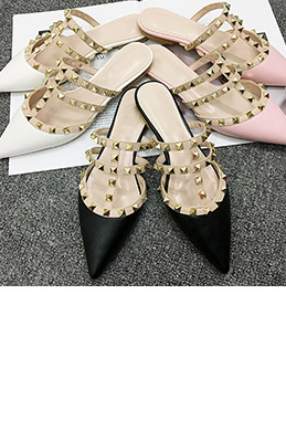 Simple Toe Closed Pointed Flat Slipper Shoes (0919076)