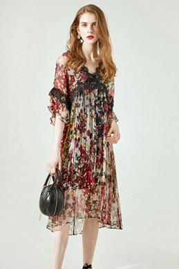 eDressit Silk Short Sleeves Printed Dress Summer Dress (30194468)