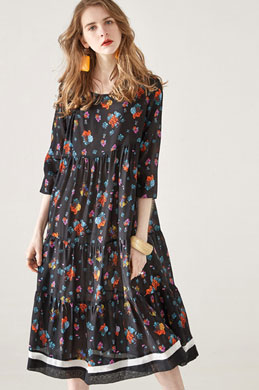 eDressit Round Neck Silk Summer Dress Printed Dress (30193700)