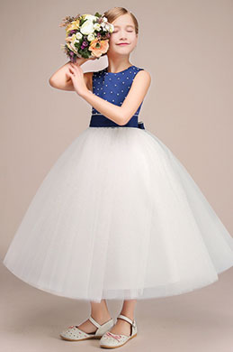 eDressit Lovely Long Flower Girl Dress With Spot Blue Top (27192305)