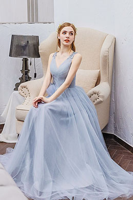 eDressit Light Blue Deep V-Cut Long Tulle Evening Party Dress (36213608)