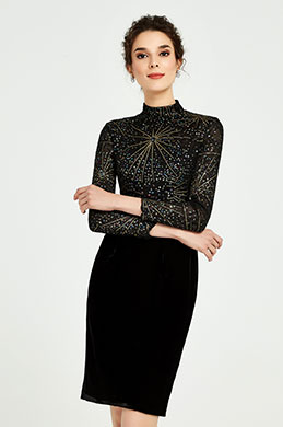 eDressit Shiny Black High Neck Velvet Skirt Day Dress (03190300)
