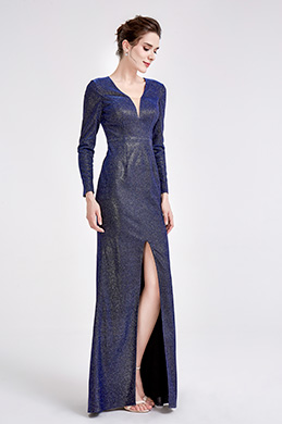 eDressit Blue V-Neck Shiny Long Sleeve Party Ball Dress (26190505)