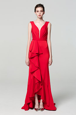 eDressit Red Elegant Deep V-Cut Ruffle Party Dress (00190502)