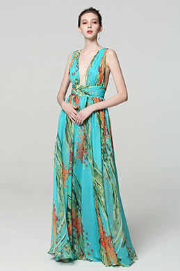 eDressit Green V-Cut Strap Print Floral Prom PartyDress (00183168H)